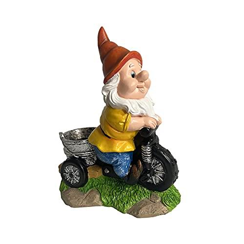 ZECAN Statua di Gnomo da Giardino, Scultura Nana in Resina Triciclo da Equitazione, Ornamenti da Giardino Nani Impertinenti, Regalo Divertente per La Decorazione