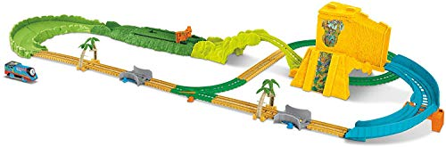 Thomas & Friends TrackMaster Turbo Jungle Set, toy train and track set with motorized Thomas engine for preschool kids 3 years and up