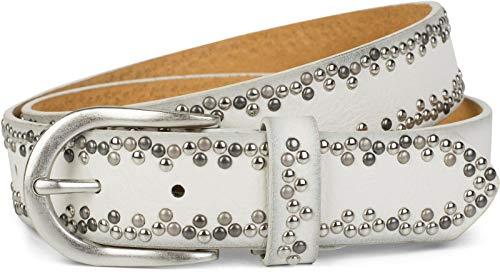 styleBREAKER Nietengürtel mit verschiedenfarbigen kleinen Nieten, Gürtel, kürzbar, Unisex 03010071, Größe:95cm, Farbe:Weiß