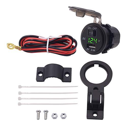 MYBOON Impermeable 12V 24V Motocicleta Manillar USB Cargador de teléfono móvil Enchufe Motocicleta 2.4A Adaptador con Interruptor voltímetro Cable de Datos Negro