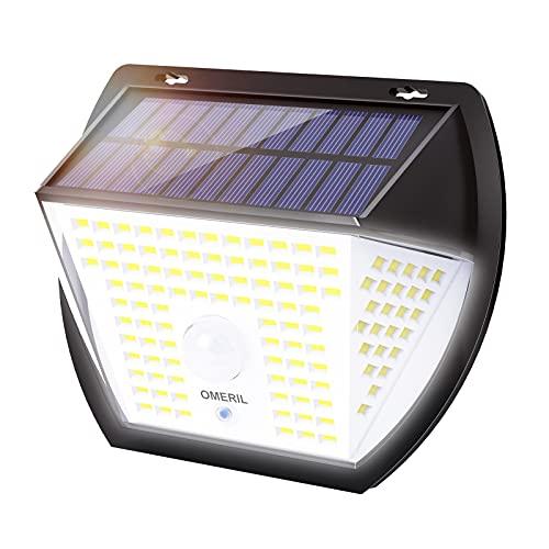Luz Solar Exterior, OMERIL Focos Led Exterior Solares 2000 Lumens con 3...