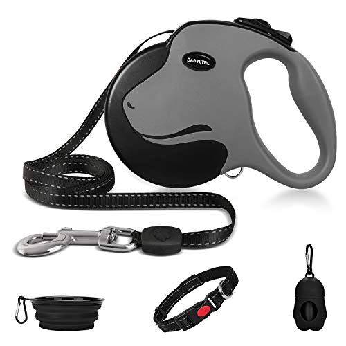 Babyltrl Upgraded Heavy Duty Retractable Dog Leash, 360° Tangle-Free Large Dog Retractable Leash up to 110lbs, 16ft Strong Reflective Nylon Tape with Anti-Slip Handle, One-Handed Brake, Pause, Lock