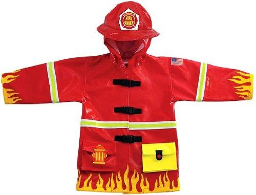 alles-meine.de GmbH 3-D Regenmantel - Feuerwehr - Gr. 92 / 98 - für Kinder / Regenjacke - Auto Feuerwehrauto Berufe Rettung