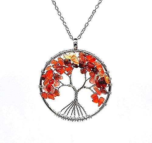 ZHIFUBA Co.,Ltd Necklace Necklace Handmade Necklace with Natural Stones and Minerals Tree of Life Necklace Women Wedding Jewelry Choker Size 50 + 5cm Necklace Pendant Chain for