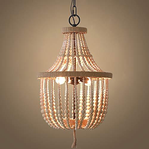 SELMAL Frans houten parellamp-hanger, houten kralen kroonluchter hanger, 2 lampen grijs wit afwerking retro vintage antieke rustieke keuken plafondlamp lampen