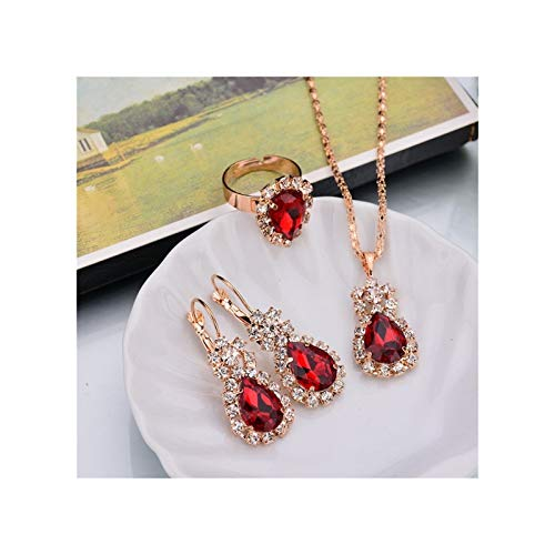 ZYQXB 6 Collar Colgante de Color/Pendientes/Anillos (Metal Color : Red)
