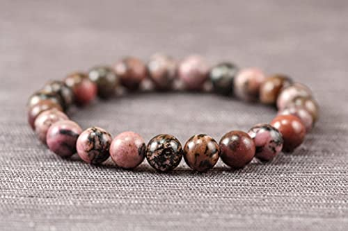 Nashville-Davidson Mall AGIRA Natural Handmade Rhodonite Bracelet B Stretch Ranking TOP9 Round Beads