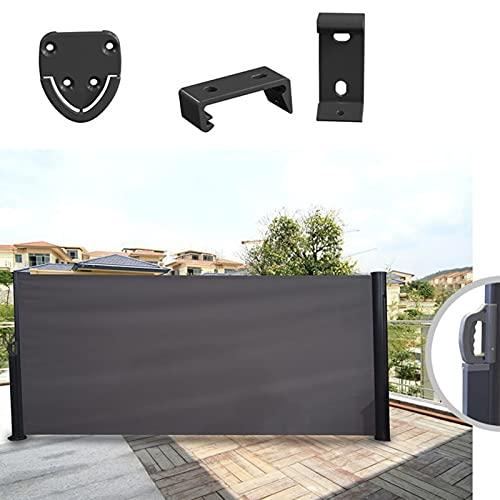 LJIANW-lonas impermeables exterior, Toldo Lateral Retráctil para balcón, Protección de privacidad Sombrilla, Persiana Lateral, para jardín Balcón, Terraza, 4 tamaños (Color : Black, Size : 1.6x3m)