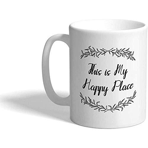 Gewohnheit Kaffeetasse 330 ml Dieses ist mein glücklicher Platz-Inspirations-Motivations-Glück-keramischer Tee-Schalen-Entwurf