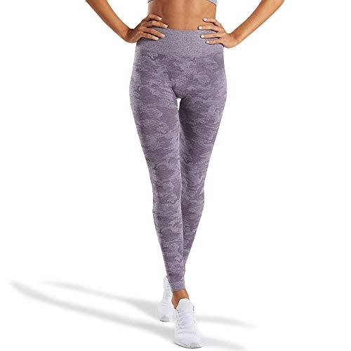WodoWei Women's High Waisted Camo Seamless Leggings 7/8 Length Workout Yoga Pants (W426-lavender Grey-S)