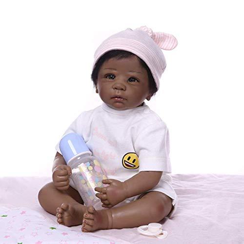VLucky Reborn 20 Zoll 50cm Realistische Wiedergeboren Babypuppe in Silikon Vinyl Schwarz African-American Gefüllte Stoffkörper Neugeborene Puppen, die echt Aussehen und echtes Kind fühlen