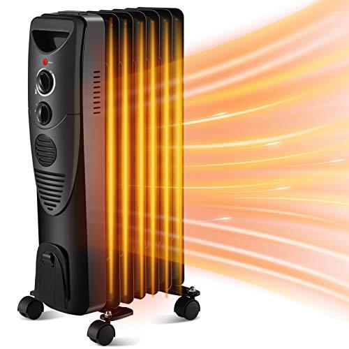 Kismile Radiador con termostato ajustable, silencioso 1500W, calentador con luces indicadoras, 3 ajustes de calor, características de seguridad portátil (negro)