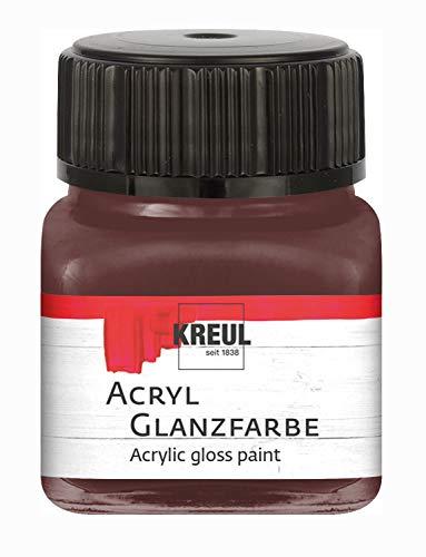 Kreul 79211 - Acryl Glanzfarbe, 20 ml Glas in dunkelbraun, glänzend-glatte Acrylfarbe zum Anmalen und Basteln, auf Wasserbasis, speichelecht, schnelltrocknend und deckend