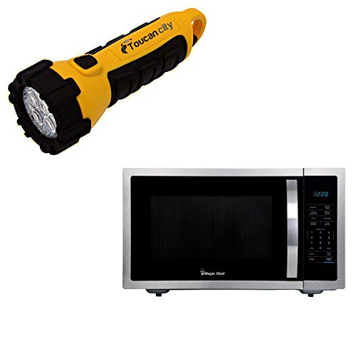 Toucan City LED Flashlight and Magic Chef 1.6 cu. ft. Countertop Microwave in Stainless steel with Gray Cavity HMM1611ST2