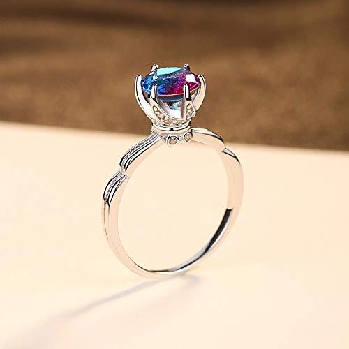 JZHHXXA Sterling zilveren regenboog mystiek Topaas Effen Ring Voor Vrouwen Sieraden Gift Fijne Sieraden Engagement Ring
