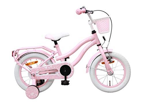 Amigo Lovely - Kinderfahrrad für Mädchen - 14 Zoll - mit Handbremse, Rücktritt, Korb und Stützräder - ab 3-4 Jahre - Rosa