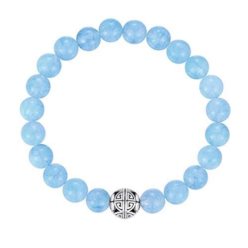 Natural 8mm piedras preciosas MetJakt Curación Crystal Stretch moldeado pulsera brazalete con plata de ley 925 doble felicidad colgante (Aguamarina)