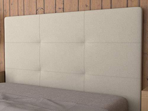 LA WEB DEL COLCHON - Cabecero tapizado Andrea para Cama de 180 (190 x 120 cms) Beige Claro Textil Suave