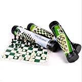 Tablero Ajedrez Portátil Juego de ajedrez de torneo de ajedrez del tablero de ajedrez con cuero de los juegos de mesa de ajedrez de viaje piezas de juego de rompecabezas de juguete niños Juego de ajed