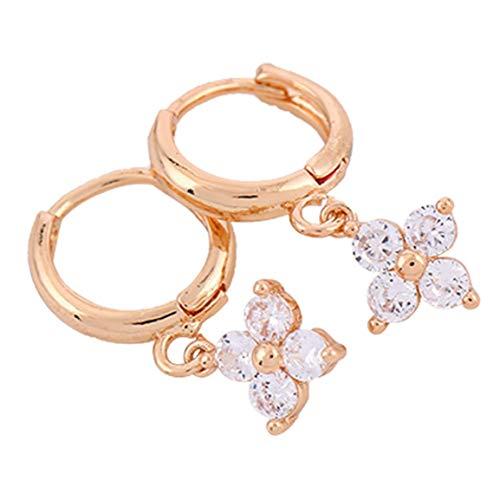 MOHAN88 Trébol Pendientes de circonita con Incrustaciones de Cobre Pendientes de joyería Femenina románticos Accesorios Elegantes - Oro