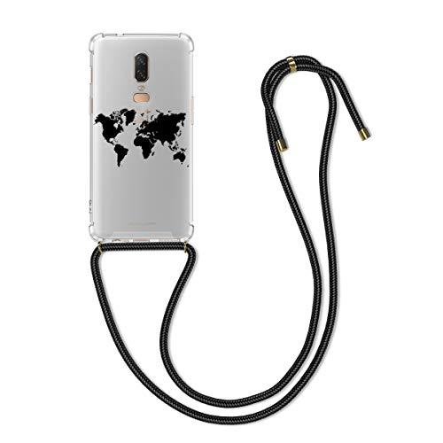 kwmobile Coque Smartphone Compatible avec OnePlus 6 - Housse en Silicone avec Cordon de Collier - Noir-Transparent