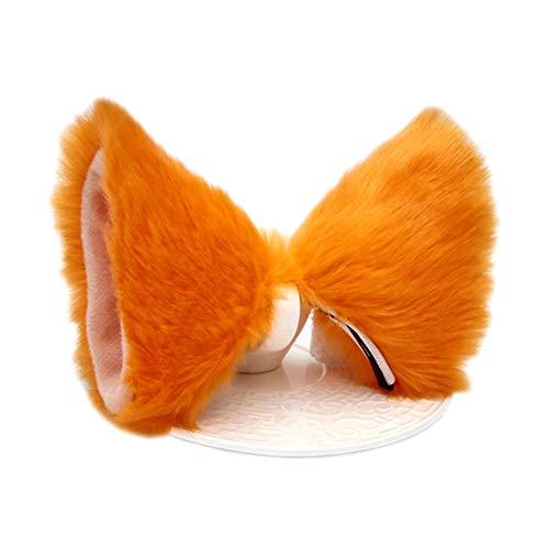 ONECHANCE Katzenohren Haarreif Fuchsohren Stirnband kopfschmuck für karneval Halloween Kostüm Anime Cosplay (Orange)