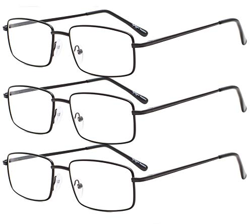 Eyekepper - Juego de 3 gafas de lectura rectangulares con bisagra de metal para hombre, color negro + 2,50