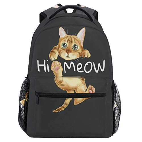 Vdsrup Hi Meow Cat Backpack for Girls Kids Boys Cute Kitten Kitty School Book Bag Waterproof Animals Student Laptop Backpacks College Carrying Bags Casual Durable Lightweight