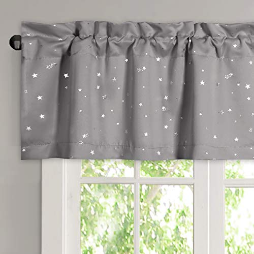 """H.VERSAILTEX Blackout Curtain Valances for Kitchen Window / Living Room / Bathroom Privacy Added Rod Pocket Home Decoration Twinkle Stars Winow Valance, 52"""" W x 18"""" L, Gray"""