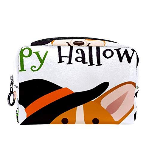 Divertidos pinginos en bufandas y sombreros de punto bolsa de maquillaje bolsa de aseo para mujeres cuidado de la piel bolsa prctica con cremallera