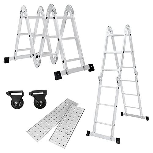LZQ Escalera multiusos 4 x 3, 340 cm, 6 en 1, de aluminio, multiusos, plegable, para el hogar, para el trabajo o el trabajo