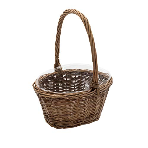 """Royal Imports Oval Shaped -Small- Willow Handwoven Easter Basket 9""""(L) x7(W) x3.5(H) (10.5""""(H) w/ Handle) Braided Rim - with Plastic Insert"""