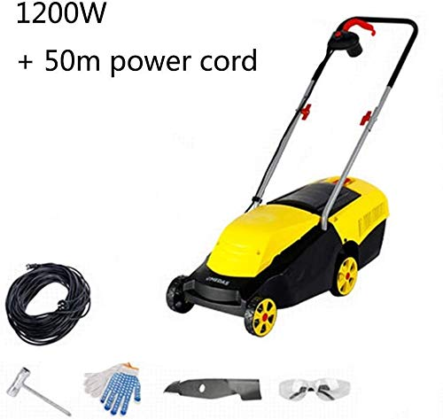 REWD Electric Lawn Mower Digital Compact Lawn Mower Cutting Width 32Cm with Charger 104 X 38 X 100cm (Size : 50m Power Cord)