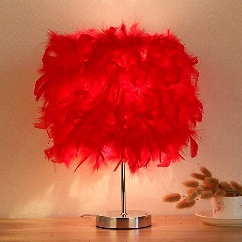 Romantische feder schatten tischlampe nachtleselicht hochzeitsgeschenke wohnkultur, rot, d28  h38cm