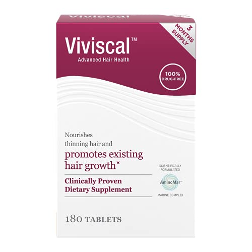 Viviscal Women's Hair Growth Supplements for Thicker, Fuller Hair   Clinically Proven with Proprietary Collagen Complex   180 Tablets - 3 Month Supply
