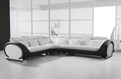 SAM Ecksofa Vigo Combi 4, weiß/schwarz, Couch aus Kunstleder, 266x303 cm rechts