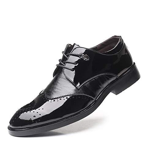 JINWEI Oxfords de Cuero de Patente para Hombres Brogue Talling Zapatos de Cordones Lace Up Negocio Wingtip Baja Tacón Puntiagudo Punta AN-Skid (Color : Negro, Size : 47 EU)