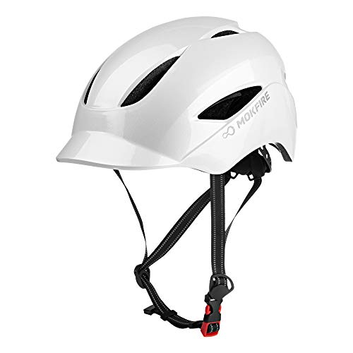 MOKFIRE Adult Bike Helmet with USB Charge Safety Light & Reflective Strap, Urban Commuter Bicycle Helmet CPSC and CE Certified for Adult Men/Women - Adjustable Size - Pearl White