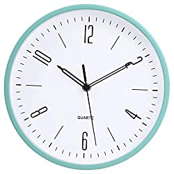 Modern Simple Style Wall Clock 10 Inch Silent Non Ticking Quality Quartz Battery Operated Decorative Kids Clock for Living Room Bedroom Bathroom Kitchen School Office,Green