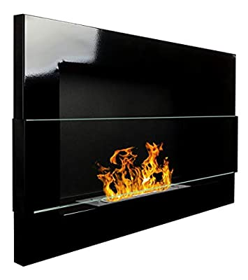 Bio Ethanol Fire BioFire Fireplace Modern 650 x 400 High gloss black with glass