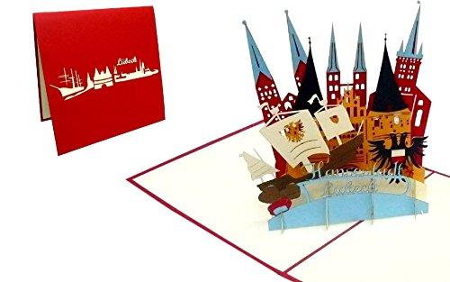 POP UP Karte; Grußkarten Lübeck; Reisegutschein Karten Lübeck skyline (Nr.219)