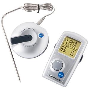 Ultranatura TM-50 Termómetro Digital, indicación LED, para asado, Barbacoa y de Cocina, Gris