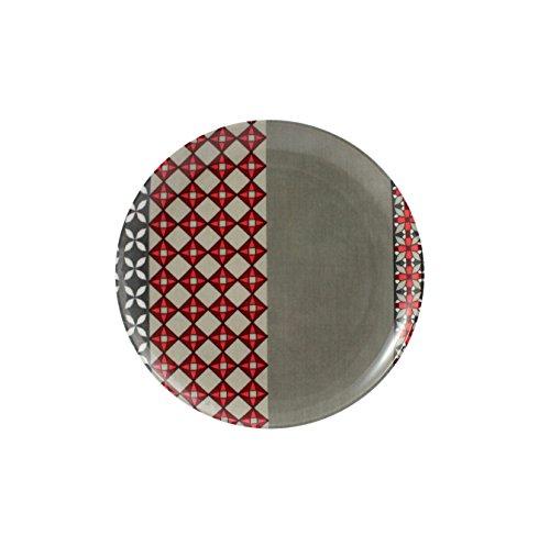 Cartaffini - Assiette à fruits PROVENZA - Gris/rouge - en mélamine avec décor en véritable tissu (seelvy), Ø 21 cm