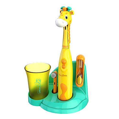 Brusheez Kid's Electric Toothbrush (Safari Edition) Set - Soft Bristles, Easy-Press Power Button, 2 Brush Heads, Cute Animal Cover, Sand Timer, Rinse Cup & Storage Base - Jovie The Giraffe
