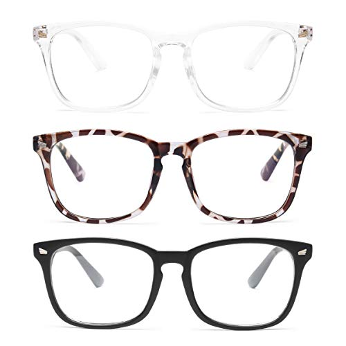 Gaoye 3-Pack Blue Light Blocking Glasses, Fashion Square Fake Nerd Eyewear Anti UV Ray Computer Gaming Eyeglasses Women/Men (Matte Black+Leopard+Transparent)
