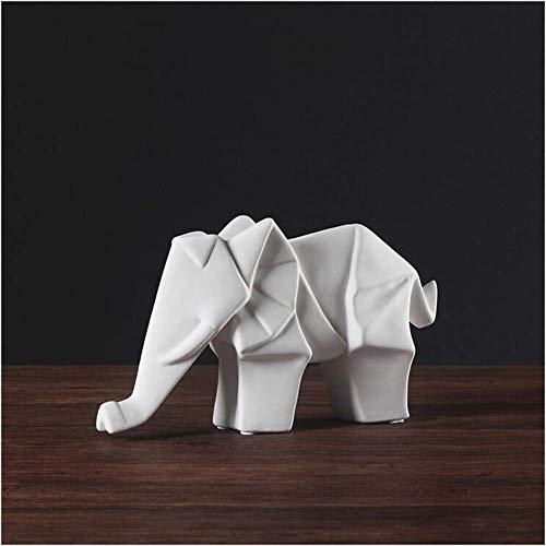 erddcbb Adornos de Escultura de Animales de cerámica Blanca Adornos de Elefante de Origami geométrico Mobiliario Minimalista Moderno Salón Porche Decoraciones Suaves para el hogar, L