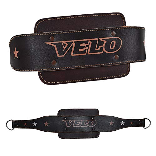VELO Leather Dip Belt Weight Lifting Training Gym Back Support Dipping Power Strap Chain Heavy Body Fitness Building Exercise Dead Lifting men women unisex