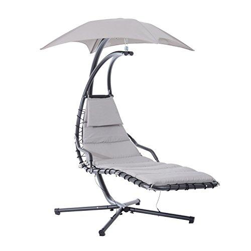 Outsunny Poltrona Sdraio Relax Chaise Lounge Lettino Prendisole con Tettuccio Giardino Grigio 190 × 115 × 190cm