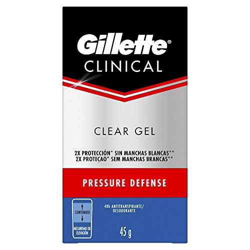 Gillette Clínical Pressure Defense Clear Gel Desodorante, Azul, 45 g