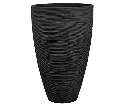 Dehner Pflanzvase Vino, Ø 40 cm, Höhe 60 cm, Kunststoff, anthrazit